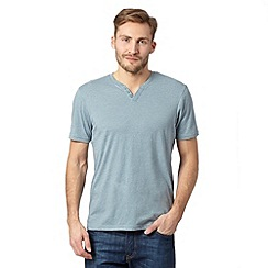Maine New England - Big and tall light blue plain button neck t-shirt