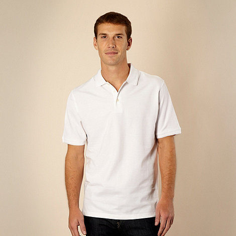 Maine New England - White plain pique polo shirt