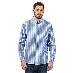 Maine New England - Big and tall Blue Slub Stripe long sleeve shirt