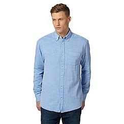 Maine New England - Big and tall light blue slub double faced long sleeve textured shirt
