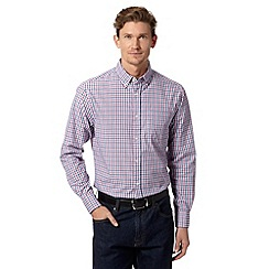 Maine New England - Big and tall dark pink two tone checked shirt