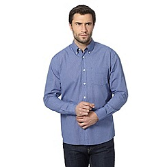 Maine New England - Big and tall navy checked long sleeved shirt