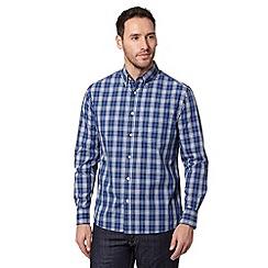Maine New England - Dark blue checked button down shirt