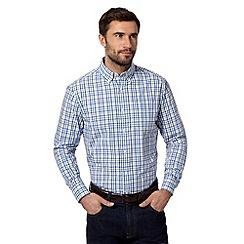 Maine New England - Royal blue shadow grid checked shirt