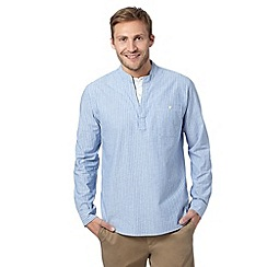 Maine New England - Big and tall pale blue textured striped mock layer long sleeved shirt