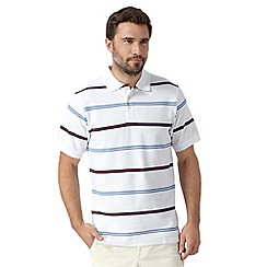 Maine New England - White nautical striped pique polo shirt