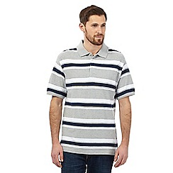 Maine New England - Big and tall grey block striped polo shirt