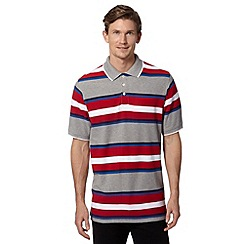 Maine New England - Big and tall red multi striped polo shirt