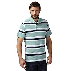 Maine New England - Big and tall pale green block striped pique polo shirt