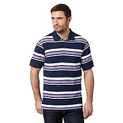 Maine New England - Big and tall lilac block striped pique polo shirt