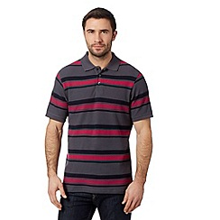 Maine New England - Dark grey block striped pique polo shirt