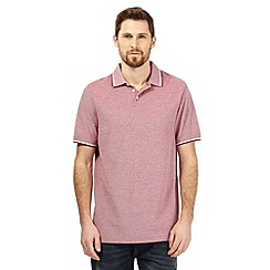 Maine New England - Dark red plain tipped collar pique polo shirt