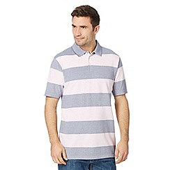 Maine New England - Big and tall pink wide striped pique polo shirt