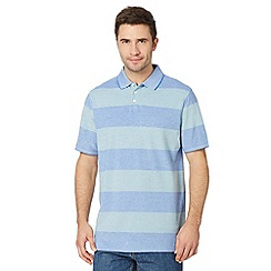 Maine New England - Green wide striped pique polo shirt