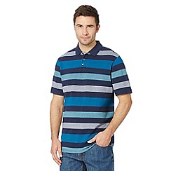 Maine New England - Big and tall turquoise multi striped pique polo shirt