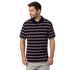 Maine New England - Big and tall navy striped short sleeved polo shirt