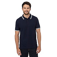 Maine New England - Navy tipped collar pique polo shirt