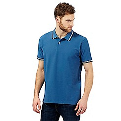 Maine New England - Big and tall blue tipped collar pique polo shirt