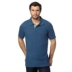Maine New England - Big and tall dark blue contrast placket pique polo shirt