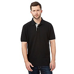 Maine New England - Black contrast placket pique polo shirt