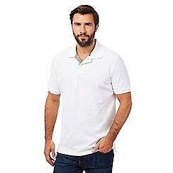 Maine New England - Big and tall white contrast placket pique polo shirt