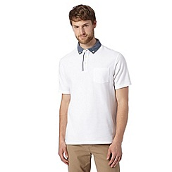 Maine New England - White chambray collar pique polo shirt
