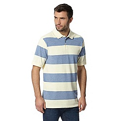 Maine New England - Big and tall yellow nautical block striped polo shirt