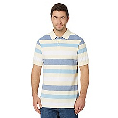Maine New England - Yellow multi striped pique polo shirt