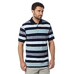 Maine New England - Navy striped short sleeved polo shirt