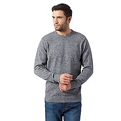 Maine New England - Big and tall dark blue twisted yarn crew neck jumper