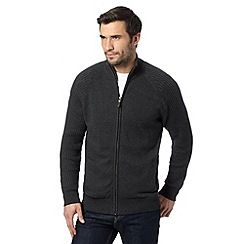 Maine New England - Dark grey zip through knit with ribbed sleeves