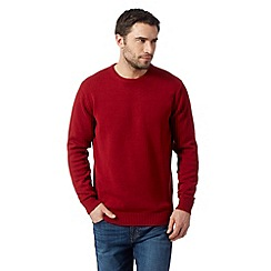 Maine New England - Big and tall red plain crew neck jumper