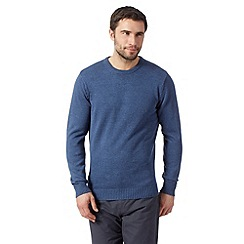 Maine New England - Big and tall mid blue plain crew neck jumper