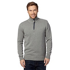 Maine New England - Grey tipped knitted zip neck sweater
