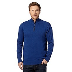Maine New England - Royal blue tipped zip neck sweater