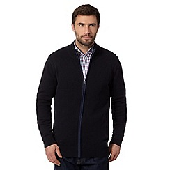 Maine New England - Big and tall navy tipped zip through knit