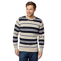 Maine New England - Big and tall natural block striped jumper