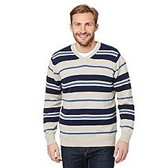 Maine New England - Natural block striped v-neck jumper