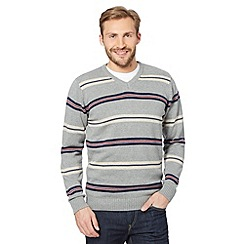 Maine New England - Light grey striped v-neck jumper