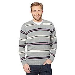 Maine New England - Light grey striped v-neck jumper