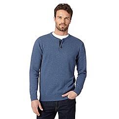 Maine New England - Mid blue button neck jumper