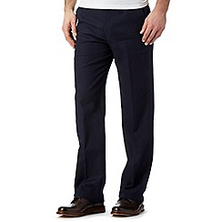 Maine New England - Navy linen regular fit trousers