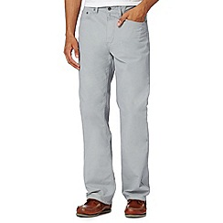 Maine New England - Big and tall pale grey textured cotton trousers