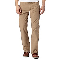 Maine New England - Big and tall taupe straight leg cotton trousers