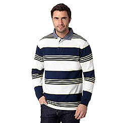 Maine New England - Navy block striped rugby shirt