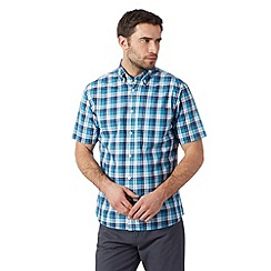 Maine New England - Big and tall dark turquoise checked short sleeved shirt