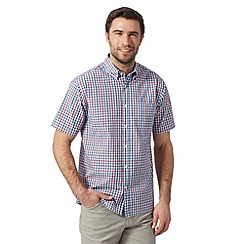 Maine New England - Royal blue checked short sleeved shirt