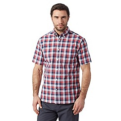 Maine New England - Big and tall red checked short sleeved shirt
