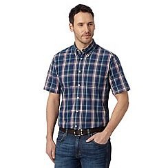 Maine New England - Navy checked short sleeved shirt