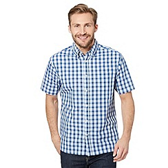 Maine New England - Big and tall dark blue nautical checked shirt